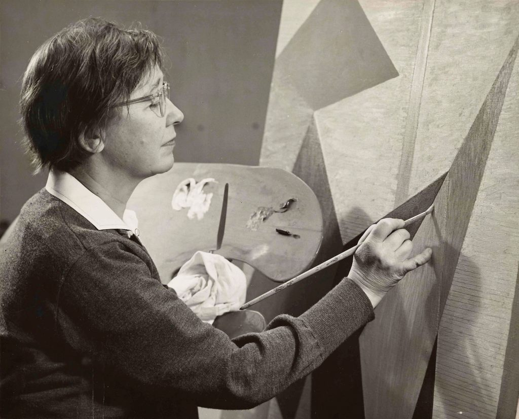 """Alice Trumbull Mason painting """"Mobile Tensions,"""" 1954. Photograph by John D. Schiff."""